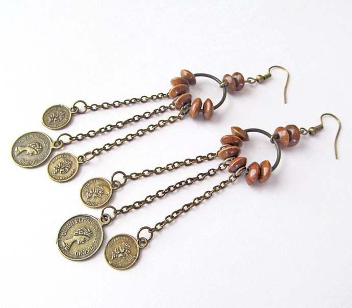 Long Bohemian Gypsy Chandelier Earrings with Faux Coin Dangles - Vintage Belly