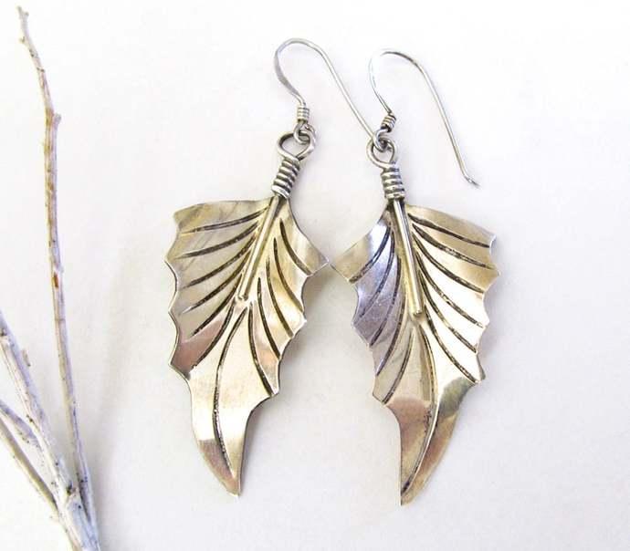 Sterling Silver Leaf Earrings - Earthy Nature Earrings - Nature Gifts for Women