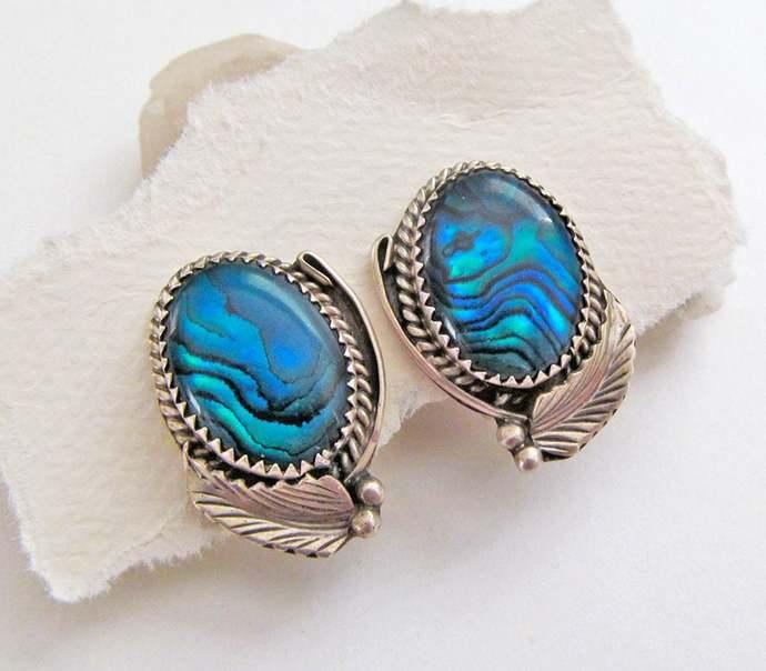 Blue Paua Shell Earrings, Sterling Silver Earrings, Vintage Southwestern