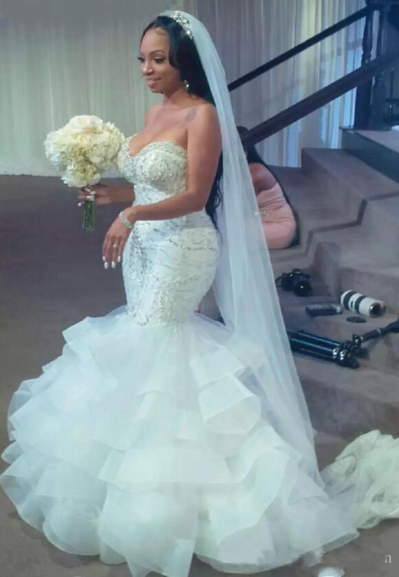 Sexy Mermaid Wedding Dresses South African Beads Sequins Layered Skirt Plus Size