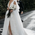 Deep V Neck Satin Wedding Dresses Cheap Long Split Front Backless Bridal Dress