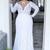 Cheap Plus Size Wedding Dresses Deep V Neck Sheath Vintage Long Sleeves Wedding