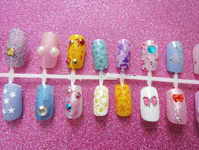 nails sailor moon inspired fake nails gyaru press on false