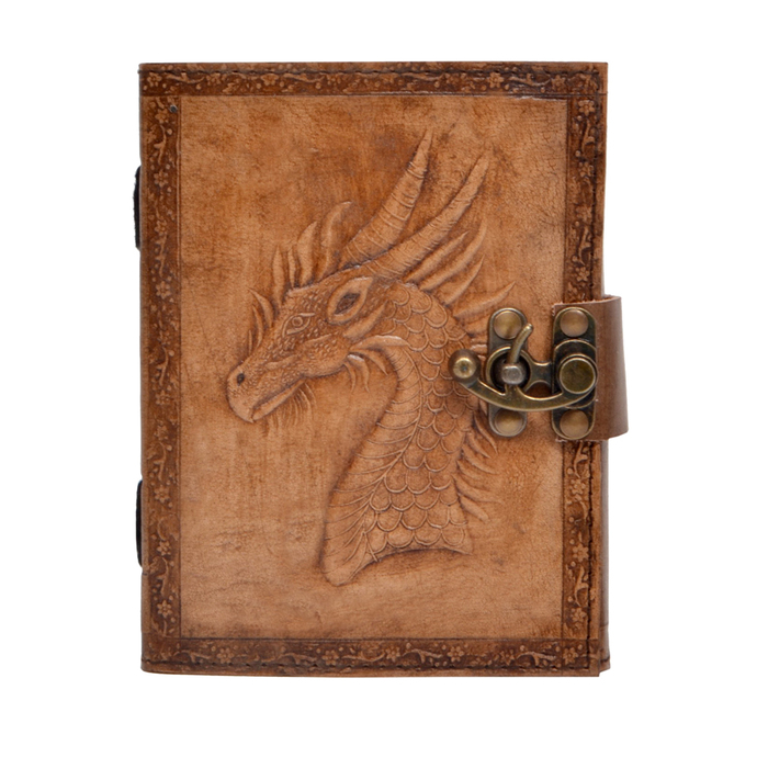 Handmade Leather Journal Game of Thrones Dragon Embossed Charcoal Color Notebook