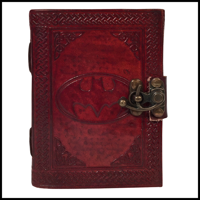 Handmade Leather Journal Notebook Batman Sign Embossed Diary Appointment
