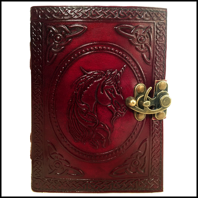 Leather Journal Book Unicorn Embossed Notebook Handmade Blank Unlined Paper