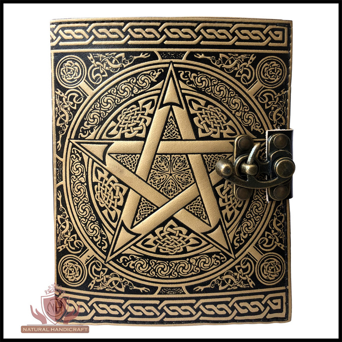 Pentagram Embossed Handmade Witchcraft Book of Shadows Leather Journal Book
