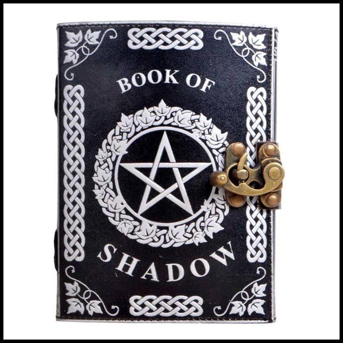 Handmade Leather Journal Silver Pentagram Witchcraft Embossed Book of Shadows