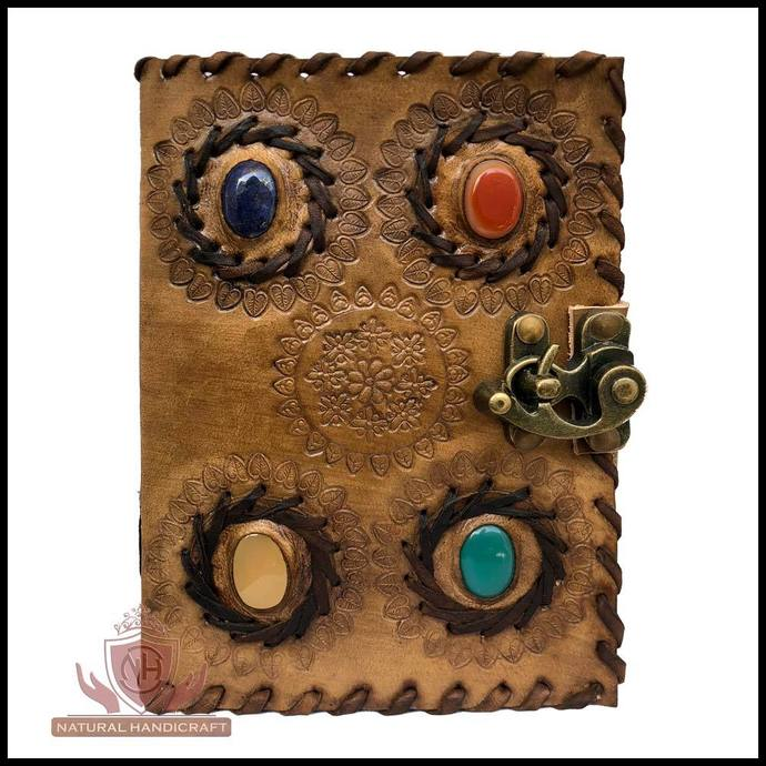 Handmade Leather Journal Notebook Medieval Stone Chakra Embossed Book of Shadows