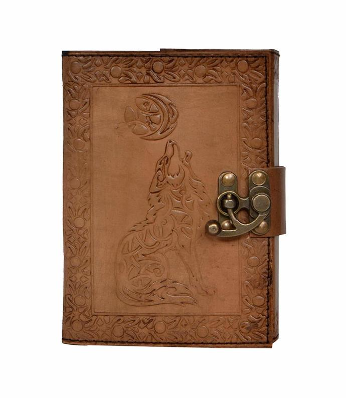 Handmade Leather Journal Wolf Embossed Charcoal Color Writing Notebook Diary