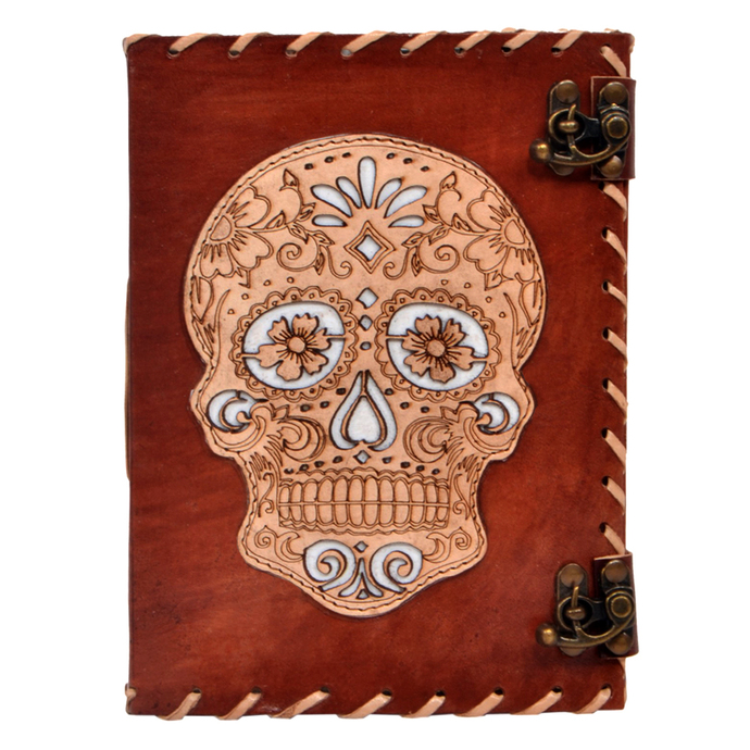 Leather Journal Day of Dead Skull Cut Work Embossed Notebook Office Diary