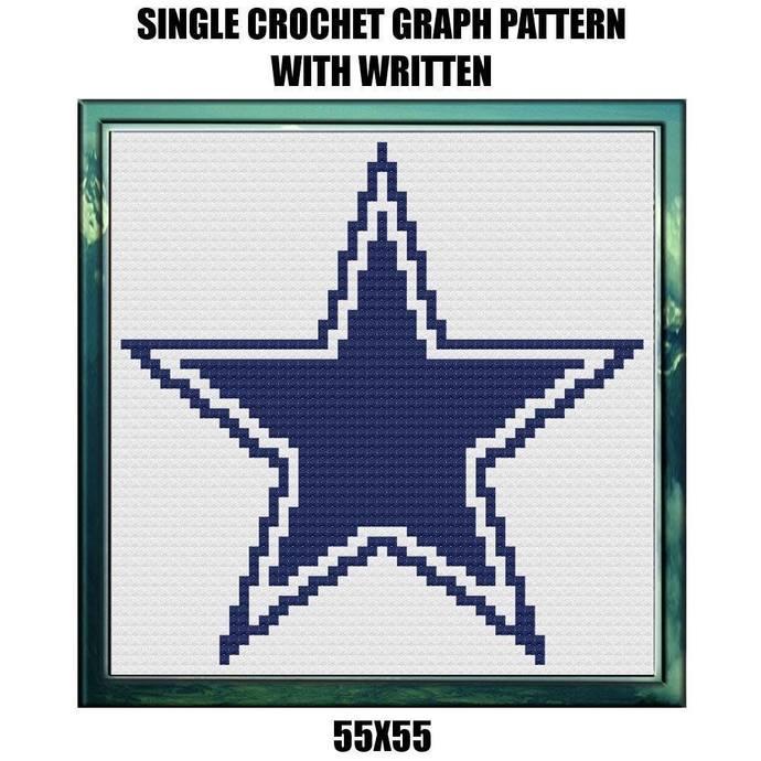 Cowboys Quilt Block Crochet Graph Pattern