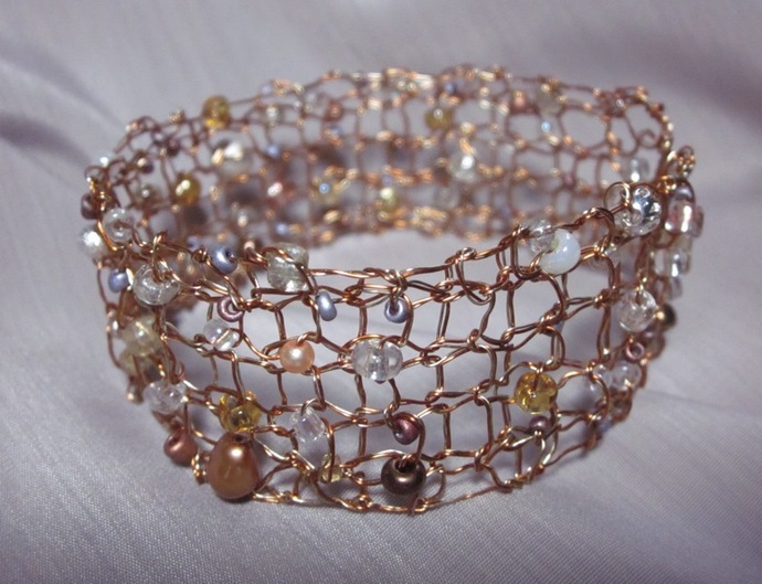 Handcrafted Jewelry Handmade Designer Knit Gold Copper Wire Bracelet