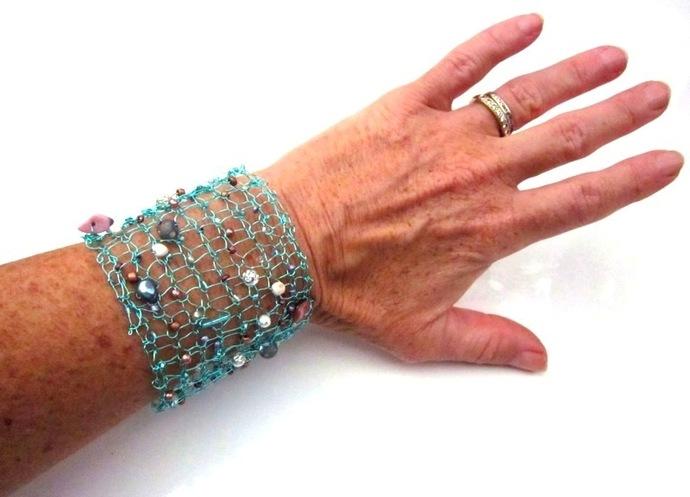 Handknit Aqua Blue Wire Beaded Cuff Bracelet