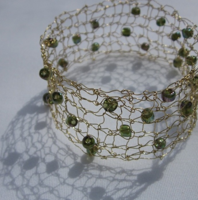 Designer Handcrafted Knit Wire Bangle Bracelet with Glass Beads created and sold