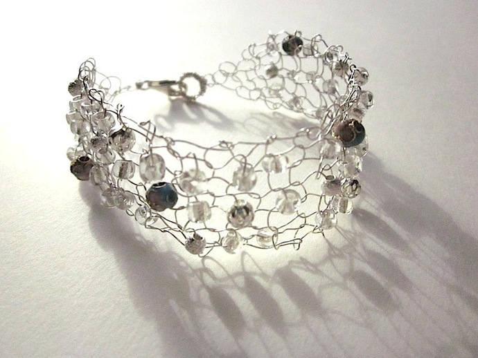Sterling Silver Knit Wire Bracelet with Cloisonné Beads