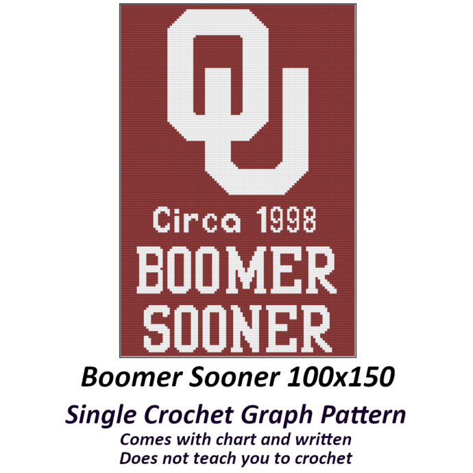 Boomer Sooner Blanket Crochet Graph Pattern