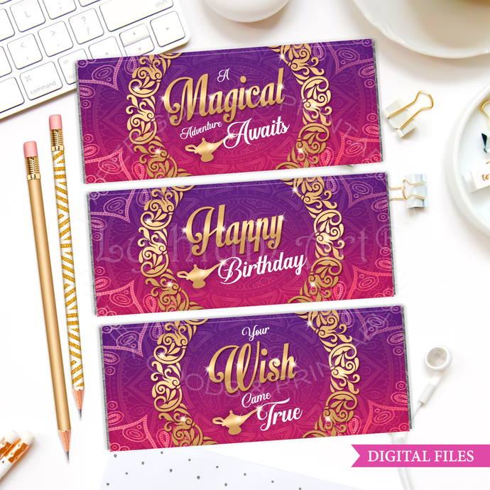 Aladdin Chocolate Wrappers, INSTANT DOWNLOAD, Candy Bar Labels, Arabian Nights