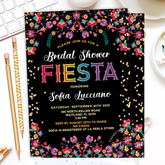 Fiesta Bridal Shower invitation, Mexican Bridal Lunch invitation, Back Design