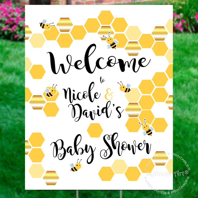 Sweet as Can Bee Welcome Sign, Personalized Bee Baby Shower Welcome Sign,