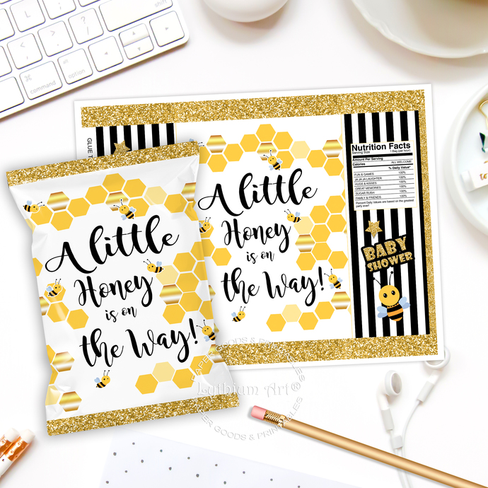 Bee Baby Shower Chip Bag, Instant Download, A Little Honey is on the Way,