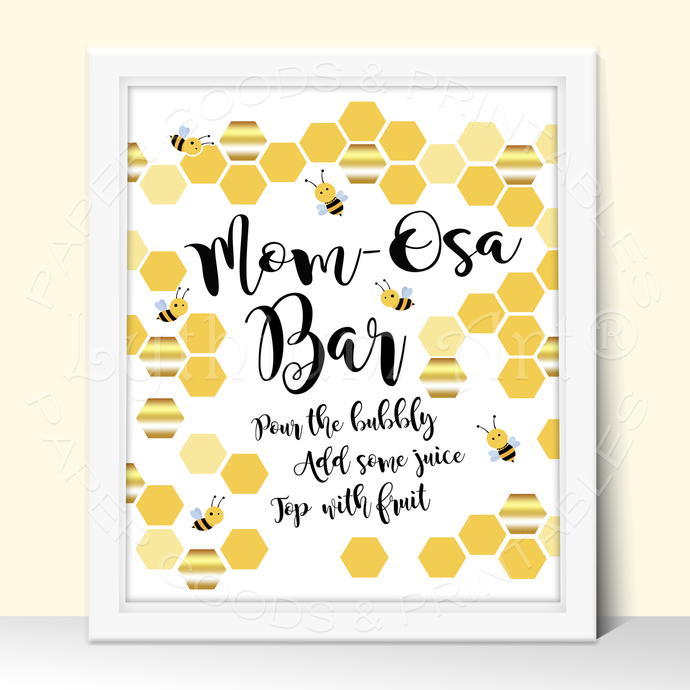 Bee Baby Shower Party Sign, All you need is Love and a Cupcake Printable Sign,