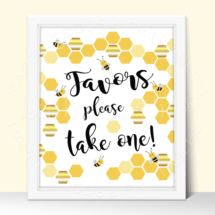 Bee Baby Shower Party Sign, Cards and Gifts Printable Sign, Instant Download
