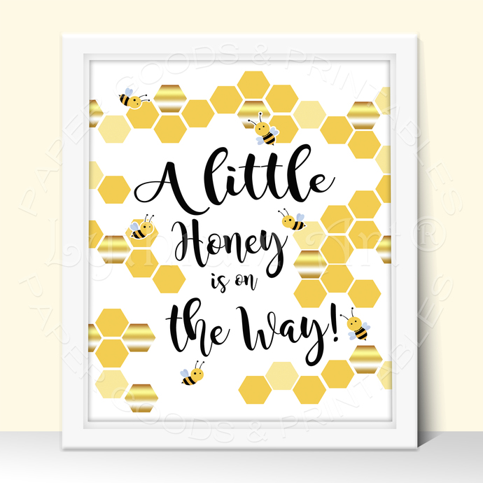 Bee Baby Shower Party Sign, Babies are Sweet please take a treat Printable Sign,