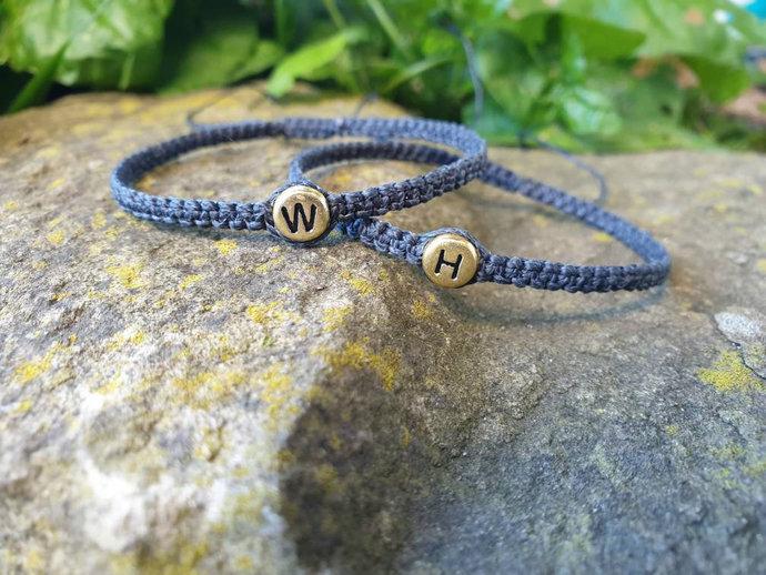 Couples Bracelet - Matching Bracelets - Initial Bracelets - Alphabet Bracelets -