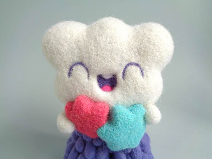 Cloudette and stars, needle felted Art Toy - Kawaii cloud wool plush - Ooak