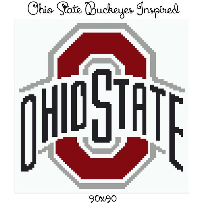Ohio State Buckeyes Pillow Crochet Graph Pattern