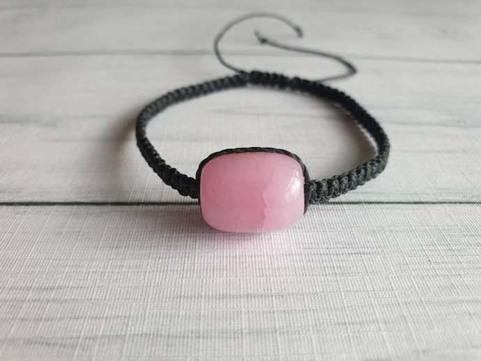 Pink Gemstone Bracelet - Gemstone Adjustable Bracelet - New Age Crystal Jewelry