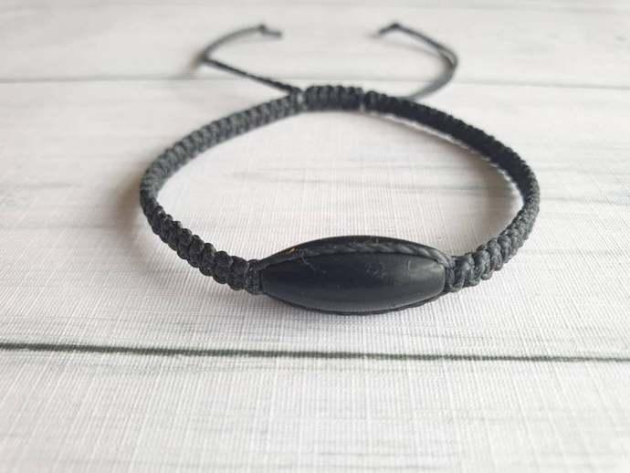 Black Gemstone Bracelet - Gemstone Adjustable Bracelet - New Age Crystal Jewelry