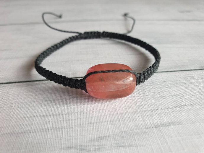 Red Gemstone Bracelet - Gemstone Adjustable Bracelet - New Age Crystal Jewelry -