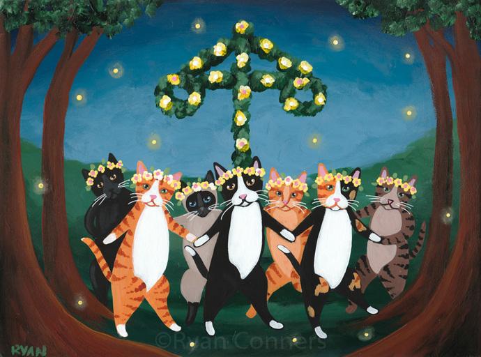 Midsummer Celebration Cats Original Cat Folk Art Painting
