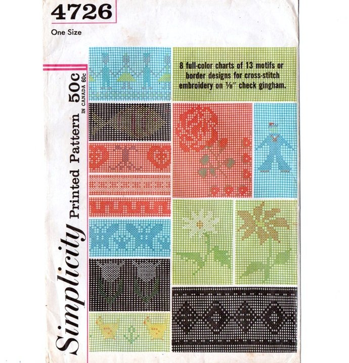 Simplicity 4726 Cross Stitch on Gingham Designs 60s Vintage Embroidery Pattern