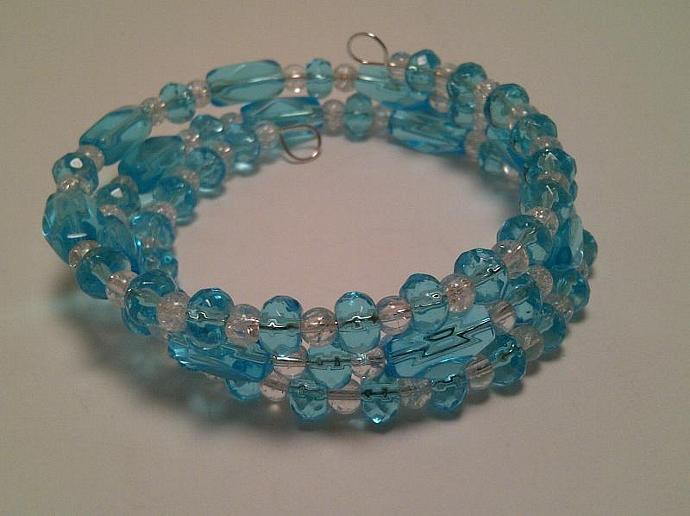 Blue Glass Wrap Bracelet