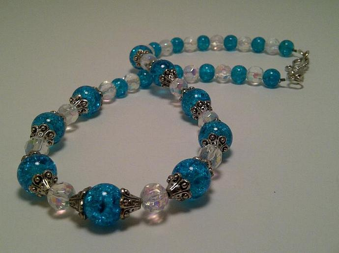 Great Deal on a Full Set: 17 1/2 inch Blue Crackle and Clear Glass Bead
