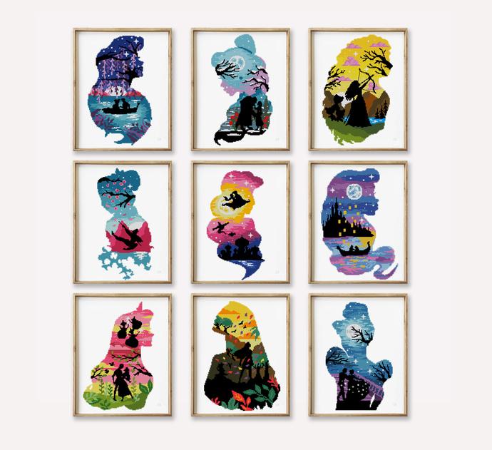 Set of 9 princesses cross stitch pattern  -Cross Stitch Pattern (Digital Format