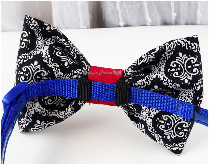 Damask Bow Tie for Cats, Black and White, Red, Bow for Dogs, Pet Attire,