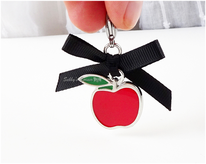 Red Apple Charm with Black Bow, Zipper Pulls, Pet Collar Charms
