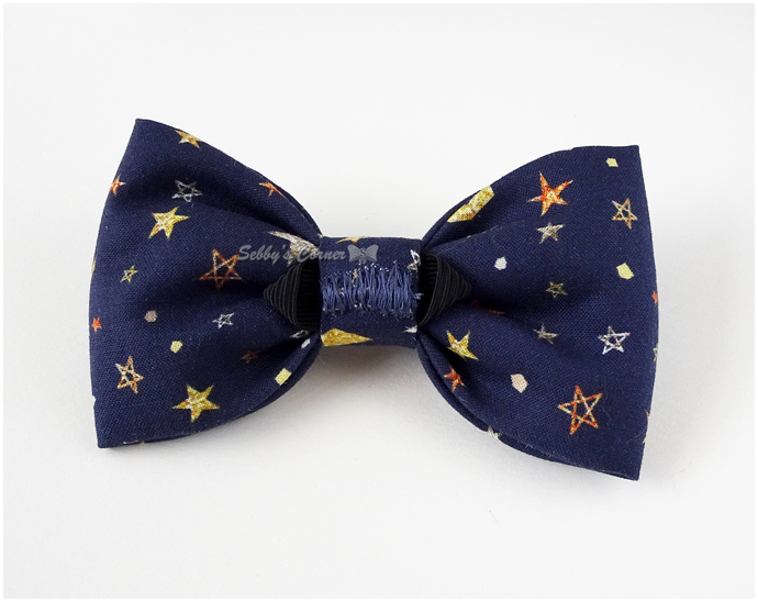 Stars and Planets Blue Bow Tie for Dogs, Cat Bow Tie, Pet Bows, Elastic