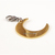Gold Crescent Moon Charm, Stainless Steel, Clip on, Zipper Pull, Pet Jewelry