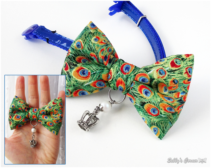 Queen of the Gods, Bow Tie for Cats, Green, Peacock feather print, Pet