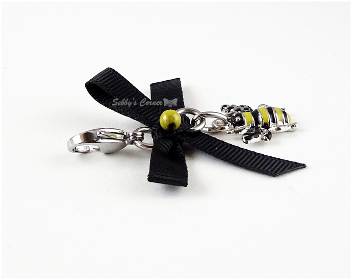 Bumblebee Charm with Bow, Pet Accessories, Pet Jewelry, Zipper Pulls