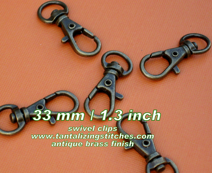 40 Antique Brass Lobster Swivel Clasps - 1.3 INCH