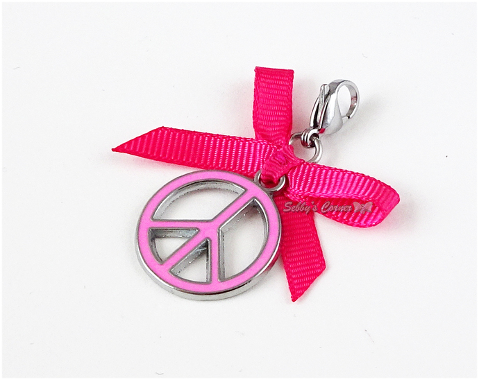 Pink Peace Sign Pet Collar Charm, Cat Jewerlry, Small Dog Accessories, 90s
