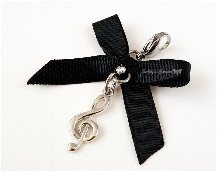 Treble Clef Charm with Ribbon, Pet Jewelry, Cat Fashion, Pet Collar Charm,