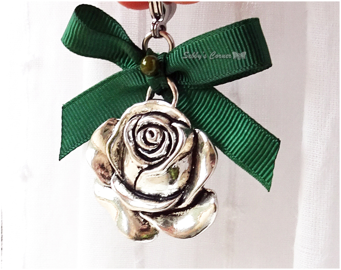 Silver Rose Charm for Cats, Small Dog Accessories, Pet Collar Charms, Forest