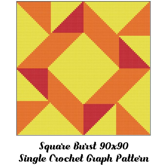 Square Burst Pillow Crochet Graph Pattern